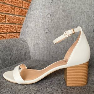 CALL IT SPRING White Chunky Ankle-Strap Low Heels